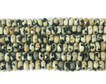 Dalmatian Jasper Faceted Rondelle Gemstone Beads
