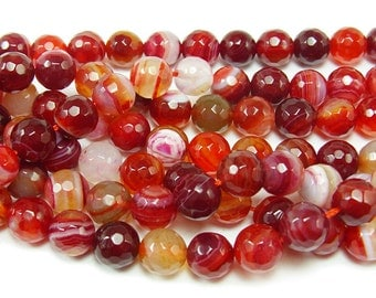 Striped Plum Red Agate Faceted Gemstone Beads