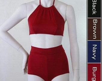 High Neck Halter Top and Retro High Waisted Boy Short Bikini in Black, Navy Blue, Brown, Burgundy in S.M.L.XL.