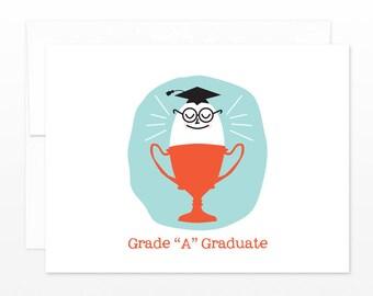 Grade A Grad Egg - Funny Graduation Card, Egghead