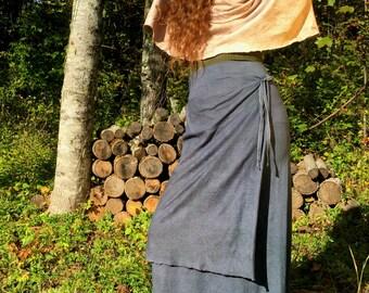 Lhasa Below the knee Skirt in 100% Organic Cotton Hemp Jersey. Made to order.