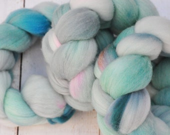 Hand Dyed Merino Top Wool Roving - Hand Painted - Spinning - Felting - Sea Spray - 4.1 Ounces