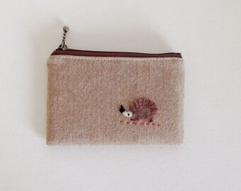 Mini zipper pouch  -wool herringbone  with a hedgehog applique