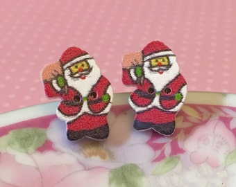 Santa Claus Earrings, Christmas Studs, Santa Studs, Wood Button Studs, Surgical Steel Studs, Festive Holiday Studs (SE2)