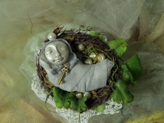 Moon Dreamer, Art Doll, Magic in a cup, shabby chic decor, Assemblage art doll,  ooak art Doll