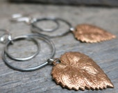 About October earrings ... metalwork sterling silver / hand forged earwires / sparkling copper leaves