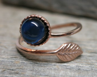 Spirit of the Forgotten Forest ring ... MADE TO ORDER rose gold / leaf / spiral ring / sapphire / adjustable band size