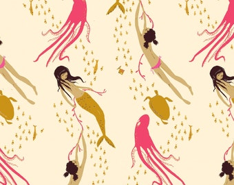 Mendocino Cream Pink Underwater Sisters Heather Ross cotton quilt fabric - one yard or by the yard, mendocino fabric, heather ross fabric