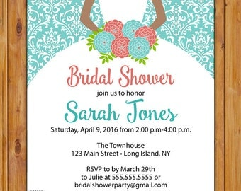 Coral Teal Bridal Shower Invitation Bride to be Gown African American Damask Wedding  Invite Printable 5x7 Digital JPG File  (536)