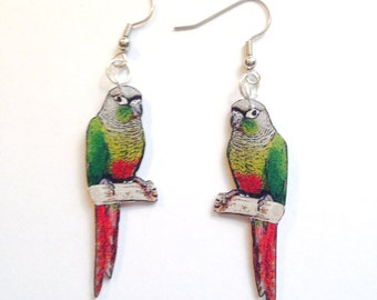 Handcrafted Plastic Green Cheeked Conure Earrings, Lapel Pin, Necklace or Keyring