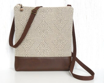 Beige Crossbody Bag, Cross Body Purse, Small Hip Purse - Subtle Diamonds in in Cream, Beige, and Brown