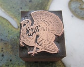 Vintage Letterpress Printers Block Turkey