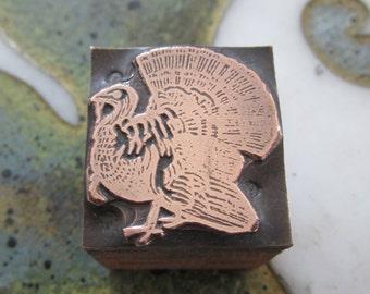 Vintage Letterpress Printers Block Turkey