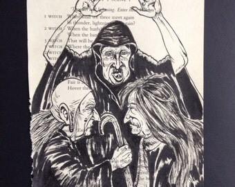 Shakespeare Macbeth Original Illustration / The Three Weird Sisters / Book Lover Gift / Book Art