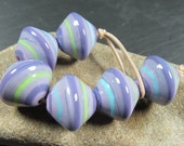6 chunky lilac lampwork disc beads with bright stripes