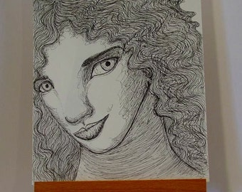 Original Pen and Ink Portrait Girl with Curly Hair 8x10