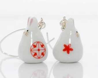 White Red Kawaii Rabbit Earrings Red Flower Bunny Cherry and Crimson