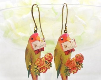 Love Bird Earrings Bird Jewelry Peachy and King - Bird Earrings - LoveBird Earrings - Bird Jewelry