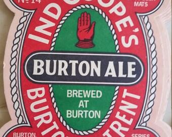Vintage Burton Ale Cardboard Beer Coaster, Burton-on-Trent, Brew Collector Mats, UK beer mats