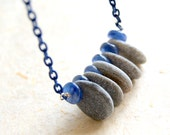 Kyanite and Beach Stone Necklace - Vintage Blue Enameled Chain - Rustic - bohemian jewelry - boho chic