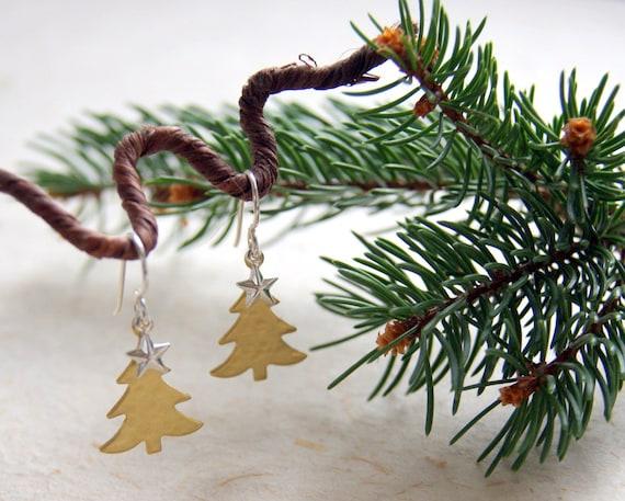 Christmas Tree Earrings - Spruce Tree Earrings - Brass Tree Earrings - Tree Earrings - Tree and Star Earrings - Woodland - Holiday Jewelry