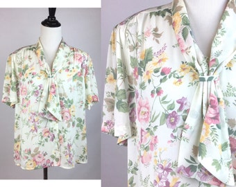 Floral Print Top w Tie Bow Collar - Off-White w Pink, Yellow, Purple Flowers, Green Leaves, Short Sleeves, Lightweight, Med/Large Vintage
