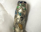 Vintage Chinese Cloisonné Enamel Curved Bar Tube Bead