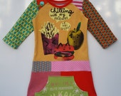 size 5T (43 3/4 inch height) Upcycled shirt girls dress Chilling
