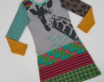 Size 8 (52 3/4 inch height) upcycled girls dress with print giraffe