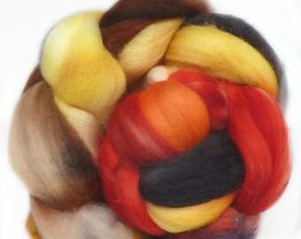 SUPERWASH MERINO roving top handdyed wool spinning fiber 3.7 oz