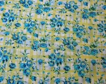 Vintage Apple Green Plaid & Blue Floral Fabric 3-1/4 yds.  x 44""