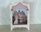 Miniature Toy Theater Vignette in Pale Beige with Victorian House