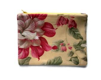 Zipper Pouch Pink Red Print Linen Floral, Yellow Cotton Linen Canvas, Purse Organizer, Makeup Bag, Cord Cozy, clutch bag, gadget case