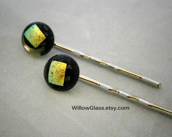 Fused Glass Bobbi Pins with Dichroic, Glass Bobby Pins, Accessories, Bobbi Pins, Willow Glass
