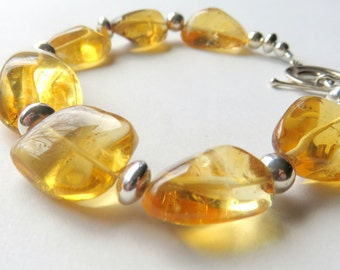 Chunky Citrine Nugget Bracelet, Bohemian Citrine Bracelet with Toggle Clasp,Yellow  Silver Gemstone Bracelet,Sunshine Yellow Citrine Jewelry