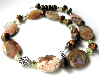 Agate Necklace, Australian Thunder Egg Agate, Autumn Colors, Bold Tiger Eye Beaded Necklace, Earthtones and Sterling Silver, Unique Gift