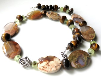 Australian Thunder Egg Agate Necklace, Autumn Colors, Bold Tiger Eye Beaded Necklace, Earthtones and Silver