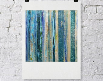 """Signed ABSTRACT PRINT of Original Painting """"Blue Thunder"""" by Lisa Carney - Blue & Taupe - modern stripe art - contemporary - 12x12"""""""