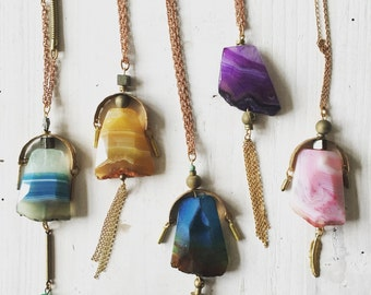 Agate Necklace / Brass Necklace / Tassel Necklace