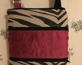 Cross Body Satchel-Pink Silk and Zebra Stripes
