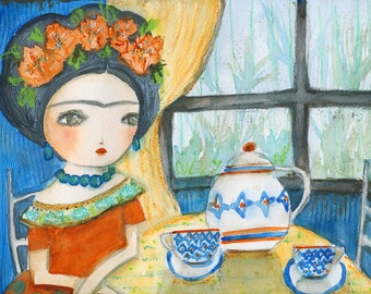 Frida and the teapot - Giclee Reproduction Of Original Watercolor Painting By Danita Art (Paper Prints and ACEO Wood Mounted)