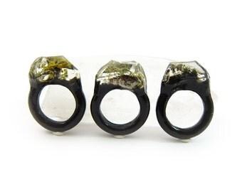 Lichen Moss Terrarium Resin Ring • Size 7.5 • Eco Resin Ring • Unusual Ring • Faceted Resin Terrarium Ring • Nature Resin Ring • 2H