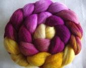 Handpainted merino wool roving, spinning fiber, felting wool, nuno felting wool, hand painted wool roving, yellow, purple, 100g/3.5oz