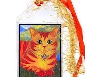 Sun Cat Bookmark Rajah Golden Sun Cat Bookmarker Orance Cat Fantasy Cat Art Mini Bookmark Cat Lovers Gift
