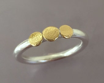 Pebble Stacking Ring in 22k Gold and Sterling Silver - Three Pebble Textured Ring - Mixed Metal Ring