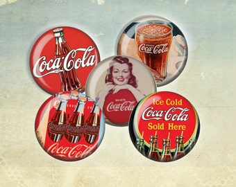 Vintage Coca Cola Advertisements Magnet Set - 5 Round Magnets in Gift Tin