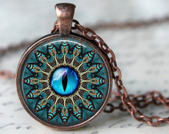 Mandala with Blue Cat's Eye Pendant Necklace or Key Chain - Choice of 4 Colors - 1 Inch Round - Space, Celestial