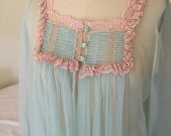 Vintage Aqua Blue Sheer Nightie Nightgown Robe
