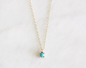 14k gold turquoise necklace, handmade, 4mm pendant, 14k gold, luxe necklace, gift for her