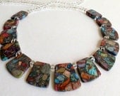 Jasper Necklace with Clear Quartz and Sterling Silver Clasp, Smokeylady54